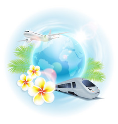 Concept travel with airplane train vector