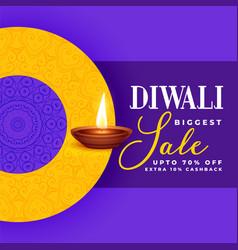 creative diwali sale banner design in purple theme vector image