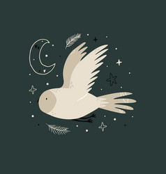 creative poster with a flying owl and night sky vector image