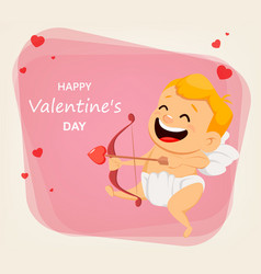 cupid shooting love arrow vector image