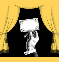 decorative frame with a yellow curtain in old vector image