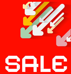 diagonal paper arrows with sale title on red vector image
