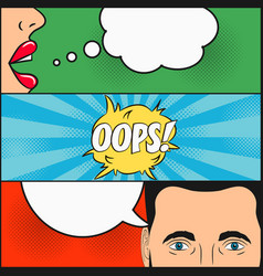 dialogue of girl and man with speech bubble oops vector image