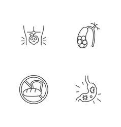 Discomfort in abdomen linear icons set vector