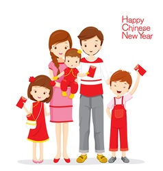 Family Happy With Red Envelopes vector