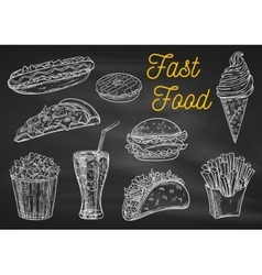 Fast food snacks and drinks chalk sketch icons vector