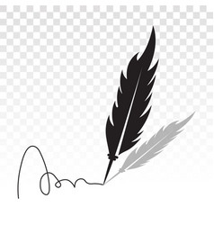 Feather quill pen with signatures flat icon vector