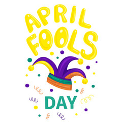 first april fool day typography colorful card vector image