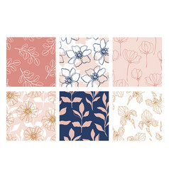 Floral seamless patterns set beautiful flowers vector