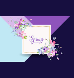 floral spring graphic design with blossom flowers vector image