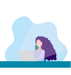 Freelance woman working online on computer vector