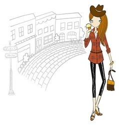 Girl in the city vector