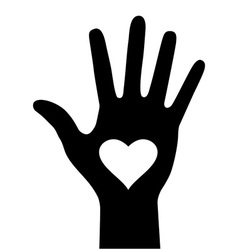 Hand with heart icon for your design vector