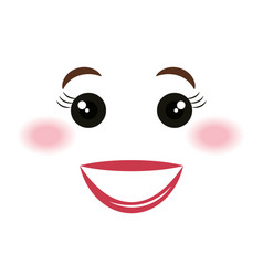 Happy face emoticon kawaii style vector