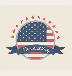 Happy memorial day round label flag with ribbon vector