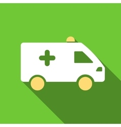 Hospital Car Flat Long Shadow Square Icon vector