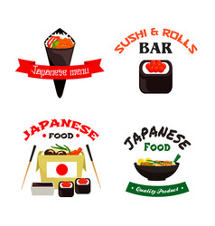 japanese sushi and asian food isolated icon set vector image