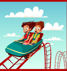 Kids on rides cartoon of boy vector