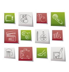 Leisure activity and objects icons vector
