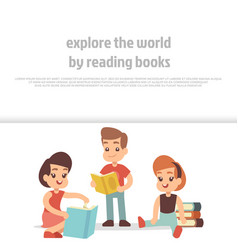little kids reading books cartoon character vector image
