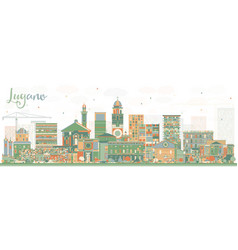 Lugano switzerland skyline with color buildings vector