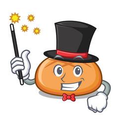 magician hamburger bun mascot cartoon vector image