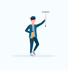 Male janitor in uniform holding shower wiper vector
