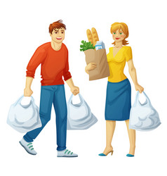 Man and woman with grocery bags isolated on white vector