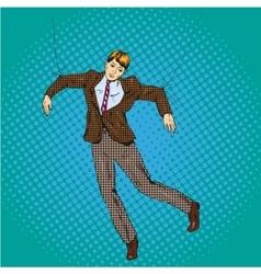 man-marionette in retro pop vector image