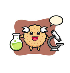 Mascot character round biscuits as a scientist vector