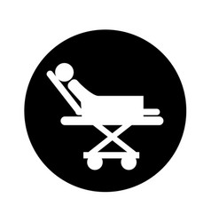 Medical stretcher with patient isolated icon vector