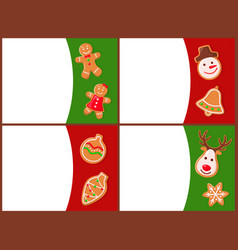 merry christmas cards with gingerbreads vector image