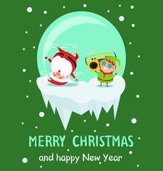 merry christmas new year poster santa dancing elf vector image