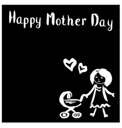Mom with strollerhappy mothers day vector