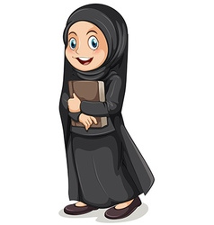 Muslim girl in black costume vector