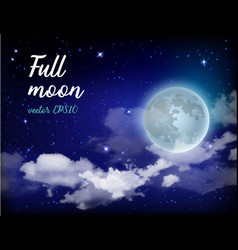 mystical sky full moon against the background of vector image