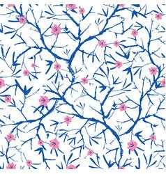 navy blue pink and white blooming sakura vector image