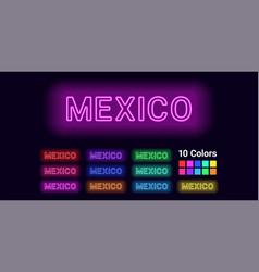Neon name of mexico city vector