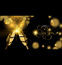 New year gold party drink 3d toast greeting card vector