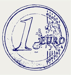 One euro coin vector