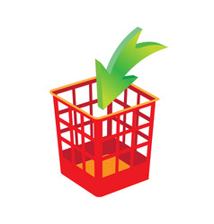 plastic basket red trash bins isolated motley vector image
