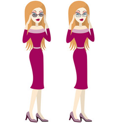 Pretty girl is choosing glasses vector