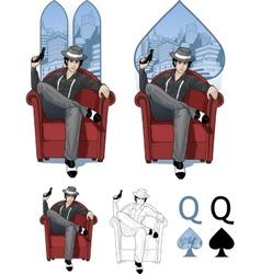 Queen spades mafia card set vector