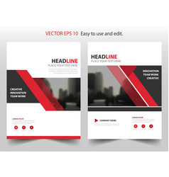 Red triangle abstract annual report brochure vector