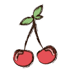 red vegetable cherrys icon vector image