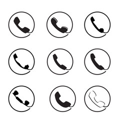 Retro phone icon set call handset sign button vector
