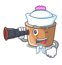 Sailor with binocular cartoon star cactus in vector
