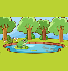 Scene with green frog in pond vector