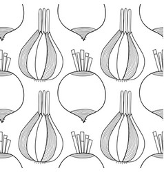 Seamless black and white pattern with onions and vector
