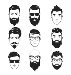 set bearded hipster men faces haircuts vector image